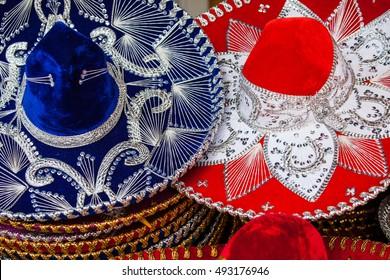 Colorful Mexican sombrero souvenirs for sale on the market, Latin America