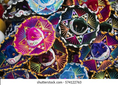 Colorful Mexican sombreros at an outdoor market in Mexico