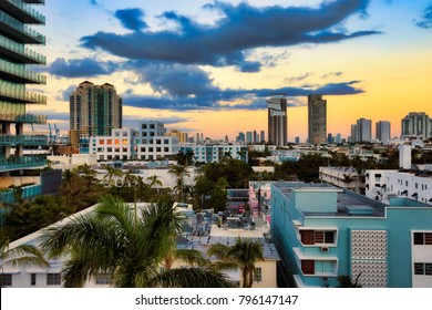 Colorful Miami Beach with a cityscape of Miami, Florida in the background