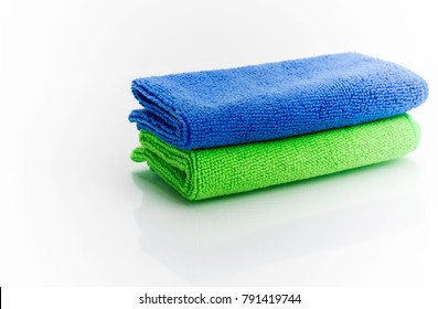 Colorful microfiber cloths, isolated on white