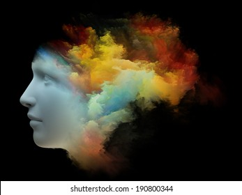 Colorful Mind series. Abstract design made of human head and fractal colors on the subject of mind, dreams, thinking, consciousness and imagination