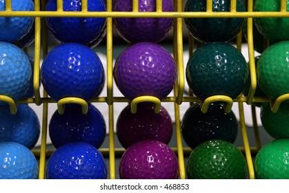 Colorful mini golf balls