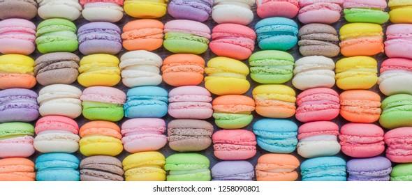 Colorful mini macaron in soft coloe tone