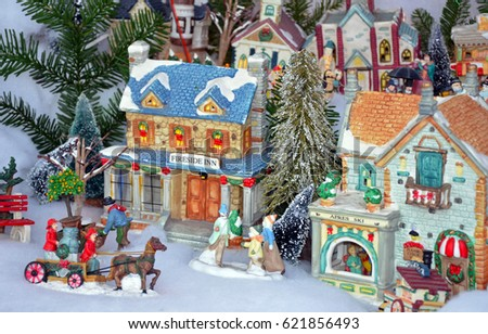 Colorful Miniature Christmas Village Display Stock Photo Edit Now