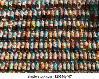 Colorful Miniature Shoes on a moroccan market
