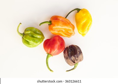 a colorful mix of habanero chili peppers isolated on white. Yellow, chocolate, red, green