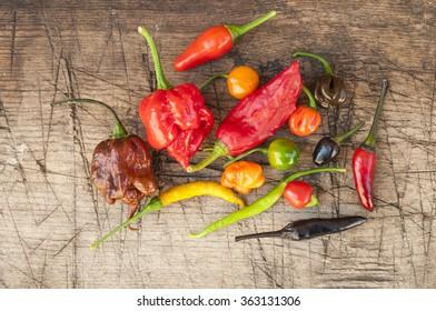 a colorful mix of the hottest chili peppers. Thai chili, habanero, serrano, jalapeno, bhut jolokia, trinidad scorpion, carolina reaper, jamaican yellow, black chili