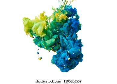 Colorful mix of inks blended together in water