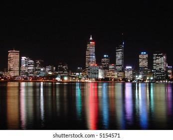 Colorful modern city's night scene