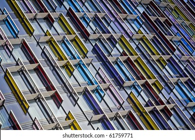 Colorful Modern Glass Architecture in City of London, UK.