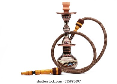 Colorful and modern hookah isolated on white background
