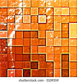 colorful modern mosaic tile in a bathroom orange and red