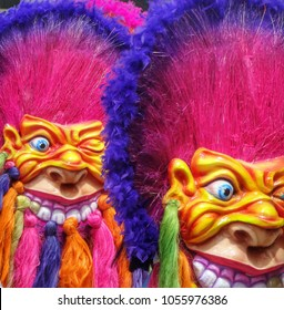 Colorful monster masks at the Carnival of Pasto in Colombia