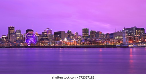 Colorful Montreal skyline at dusk in Quebec, Canada