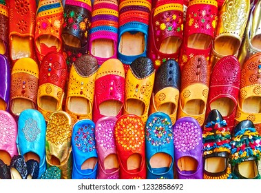 Colorful Moroccan babouch shoes slippers