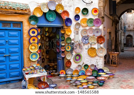 Colorful Moroccan Faience Pottery Dishes On Display In An Alley Outside A  Shop In The Scenic