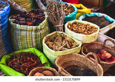 colorful Moroccan Market place. Grand bazar of tanger. Shop with moroccan spices