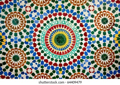 colorful moroccan mosaic wall