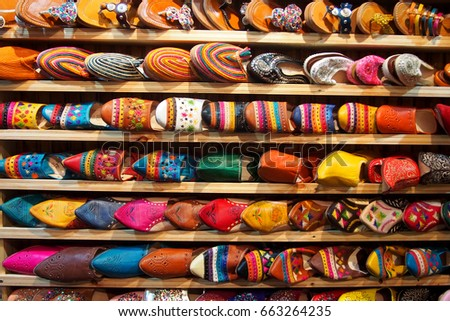 Colorful Moroccan Shoes Alignment Shop Oriental Stockfoto Jetzt