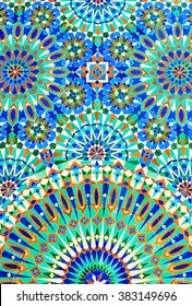 Colorful Moroccan tiles on the wall of mosque