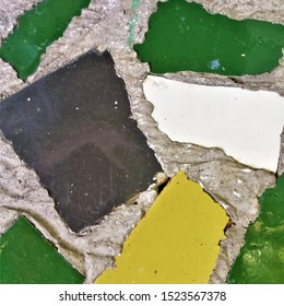 Colorful mosaic from broken tile and decorating on the wall for abstract background