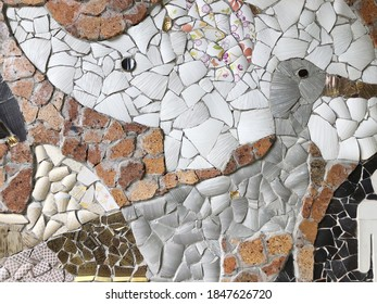 Colorful mosaic ceramic tile patterns background.