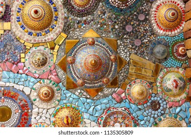 colorful mosaic crafts on the wall