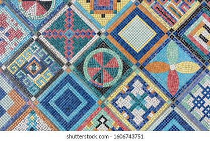 colorful mosaic flooring or wall