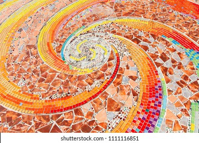 colorful mosaic flooring or walls.