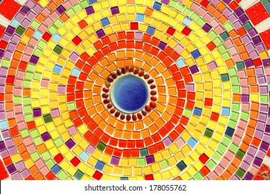 colorful mosaic flooring or walls.