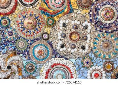 Colorful mosaic tiles and pottery items at Wat Pha Sorn Kaew(Wat Phra Thart Pha Kaew)in Khao Kho,Phetchabun,north-central Thailand.