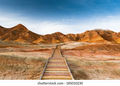 Colorful mountain in Danxia landform in Zhangye, Gansu of China