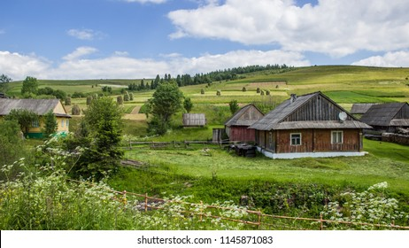 Colorful mountain huts and houses in Ukrainian villages of Transcarpathia