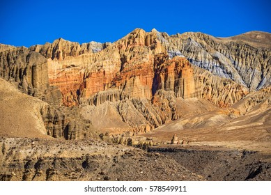 Colorful mountains above the Ghami village, Mustang, Nepal