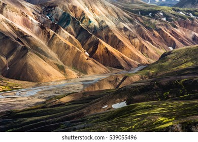 Colorful mountains in autumn time, Landmannalaugar, Iceland
