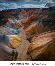 Colorful mountains at Landmannalaugar in Fjallabak natural reserve, Iceland. Beautiful nature landscape, aerial drone view from above