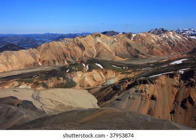 Colorful mountains of Landmannalaugar in iceland