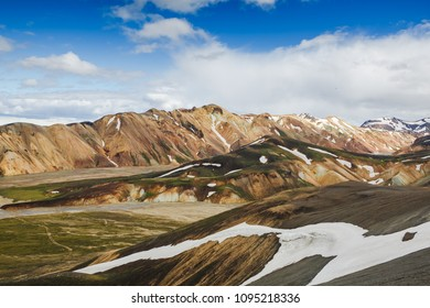 Colorful mountains on Landmannalaugar hiking trail. Magnificent Iceland
