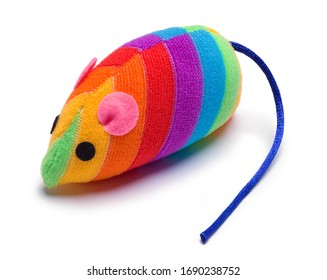 Colorful Mouse Cat Toy Isolated on White,