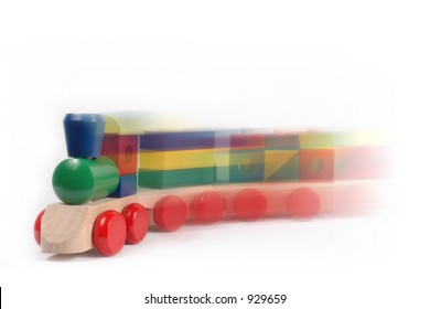 Colorful Moving Toy Train on White Background