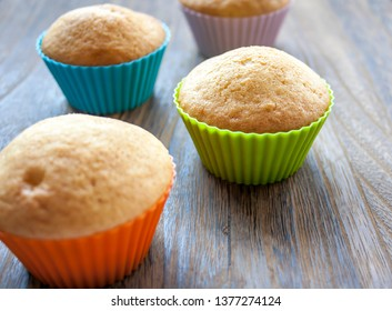 Colorful muffins. Delicious cake for dessert.