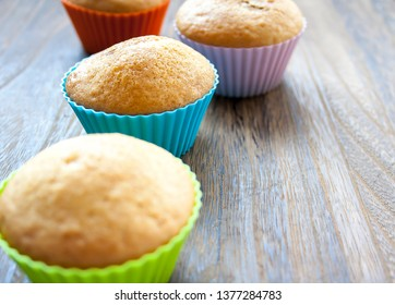 Colorful muffins one after the other. Delicious cake for dessert.