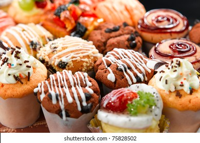 Colorful muffins in variety flavor
