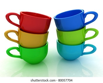 Colorful mugs on a white background