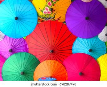 Colorful mulberry paper umbrella