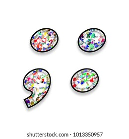 Colorful multicolor paint splatter style semicolon and colon punctuation marks in a 3D illustration with a paint splash effect in a basic bold font isolated on a white background with clipping path.