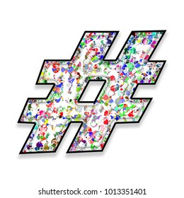 Colorful multicolor paint splatter style hashtag social media icon or pound sign symbol in a 3D illustration with a paint splash in a basic bold font isolated on a white background with clipping