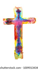 The colorful, multicolor watercolor illustration of a cross isolated on white background. Holy Rood
