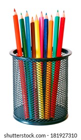 Colorful multicolor wooden pencils in a mesh holder on a white background
