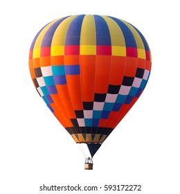 colorful (multicolors) hot air balloon isolated on white background